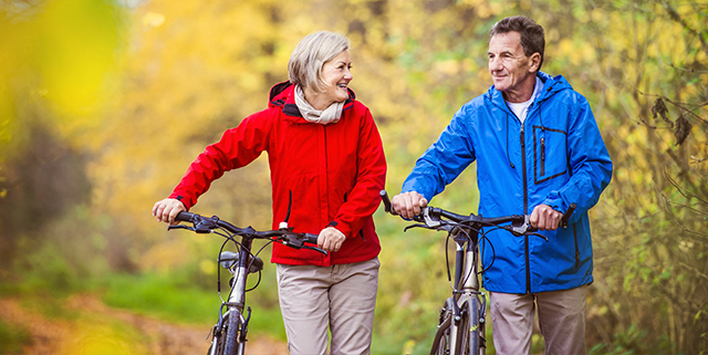 Elderly couple walking with bicycles